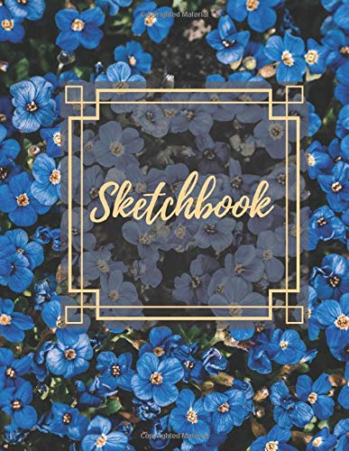 Blue flower arrangement sketchbook | Gift idea for tropical plant lover: Premium Quality cover with blank pages for drawing, writing and doodling