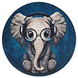 Mouse Pad with Design, ITNRSIIET Small Custom Mouse Mat for Women and Girls, Enhanced Thickness, Dual Stitched Edges, Ultra Soft, Cute Round Mousepad for Computer Office Gaming Laptop Mac, Elephant