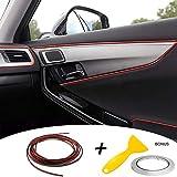 Auto Zierleiste Chrom Zierleisten Trim - Automan flexiblem Innenraum Dekorative Streifen Line DIY (10M, Rot Schwarz)