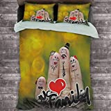 Toopeek Family Hotel Luxury Bed Linen Happy Finger Family Holding We Love Family Palabras Abrazando Sonriendo Divertido Lindo Obra de Arte Poliéster - Suave y Transpirable (King) Multicolor