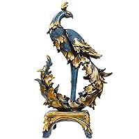 樹脂の彫刻フェニックス像オフィスデコレーションルームキャビネット工芸 (Color : Blue)