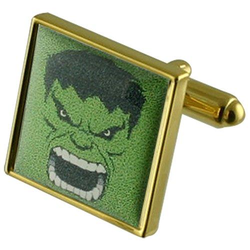Select Gifts Grüne Hulk Goldene Manschettenknöpfe personalisiert graviert box