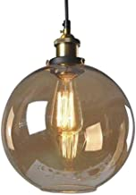 Huahan Haituo Lighting Vintage Clear Glass Globe Pendant Oil Rubbed Brass Kitchen Hanging Light (Amber,20cm)