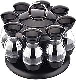 HGJINFANF Fuerte y Firme, imprescindible para el hogar 1 Set Spice frascos condimento Especia biberón Giratorio Especia Rack Organizador Especia contenedores para Cocina casera