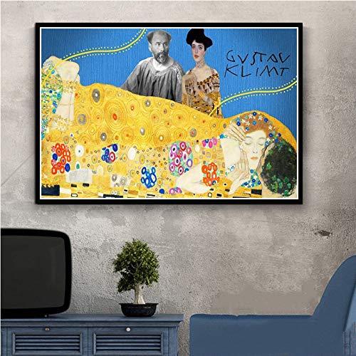 (Geen frame) 60x80 CM Klimt Gustav Gouden Tranen En Kus Canvas Schilderij Vintage Posters Abstracte Prints Wall Art Cuadros Modulaire Foto Voor Gang