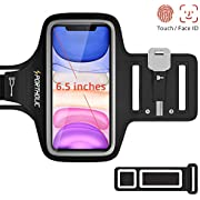 Running Phone Armband for iPhone 11 Pro Max/X/XS/8p/7p/6p, Galaxy S20/10+/9+/8+, Huawei P40/P30/P20, Nova 6/5 etc, PORTHOLIC Sweat proof Running Phone Case for Sports Jogging Fitness, Up to 6.5 inch