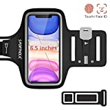 PORTHOLIC Brassard de Sport pour iPhone 11 11 Pro Max XR XS Max XR X, Sangle Ajustable, Porte-Clés, Fente pour Carte, Attache pour Câble, Jusqu'à 6,5', pour Jogging Cyclisme Randonnée Marchant