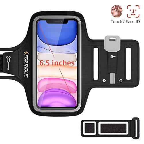 Sportarmband Handy, PORTHOLIC Schweißfest Sport Armband für iPhone 11 Pro Max XR XS Max XR,Verlängerungsband,Schlüsselhalter,Kartensteckplatz,Kopfhörerloch, für Handy Bis zu 6,5