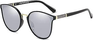 SGJFZD Polarized Light Metal Sunscreen UV400 Womens Sunglasses PC TAC Fashion Full Frame (Color : Black+Mercury)