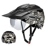 Casco de Bicicleta Moldeado Integrado, Unisex Casco de Bicicleta Protegido para Carreras de Ciclismo Skateboarding Trasera De Seguridad con Visor De Gafas Casco De Montaña para MTB