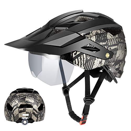 Fahrradhelm MTB Mountainbike Helm mit abnehmbarem magnetischem Visier Abnehmbarer Sonnenschutzkappe Radhelm Rennradhelm für Erwachsenen Herren Damen