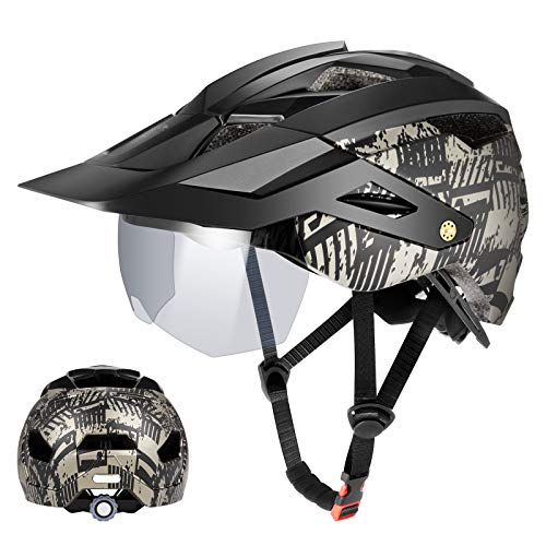 Adult Bike Helmet, Adjustable Mountain & Road Bicycle Helmet with Magnetic Goggles Detachable Visor 12 Vents Lightweight Cycling Helmet for Mens Womens