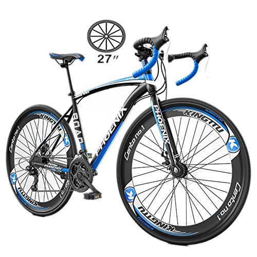 NYANGLI 27-Gang Trekking Fahrrad Cross Trekkingräder, Männer Regelbare Flach Lenker Fahrrad, Straßen-700C Fahrrad, Berg Off-Road-Fahrrad Leichte Fahrradstoßdämpfung Fahrrad,Blau,27inch/27speed