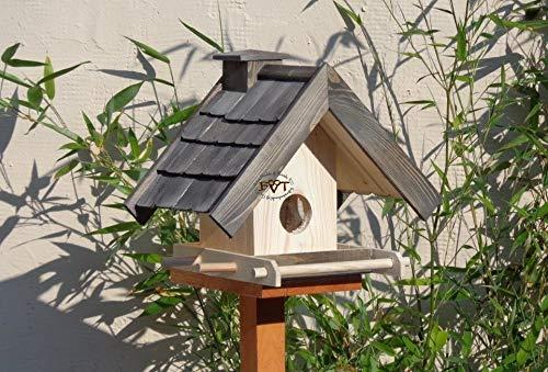 Vogelfutterhaus,BEL-X-VOWA3-at002 Großes Vogelhäuschen + 5 SITZSTANGEN, KOMPLETT mit Futtersilo + SICHTGLAS für Vorrat PREMIUM Vogelhaus – ideal zur WANDBESTIGUNG – vogelhäuschen, Futterhäuschen WETTERFEST, QUALITÄTS-SCHREINERARBEIT-aus 100% Vollholz, Holz Futterhaus für Vögel, MIT FUTTERSCHACHT Futtervorrat, Vogelfutter-Station Farbe schwarz lasiert, anthrazit Schwarzlasur / Holz natur, MIT TIEFEM WETTERSCHUTZ-DACH für trockenes Futter - 4