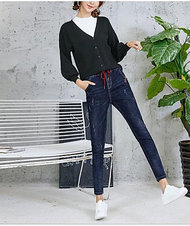 TT&NIUZAIKU Damen Freizeit Mittlere Hüfthhe Mikro-elastisch Jeans Hose, Baumwolle Winter Frühling Herbst Solide, Blau, 27