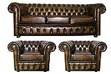 CK Chesterfield - Juego de sofás y sillas de club de piel auténtica (3 plazas), color marrón