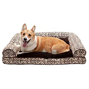 Furhaven Pet Dog Bed – Plush Kilim Southwest Home Decor Pillow Cushion Traditional Sofa-Style Living Room Couch Pet Bed with Removable Cover for Dogs and Cats, Desert Brown, Large