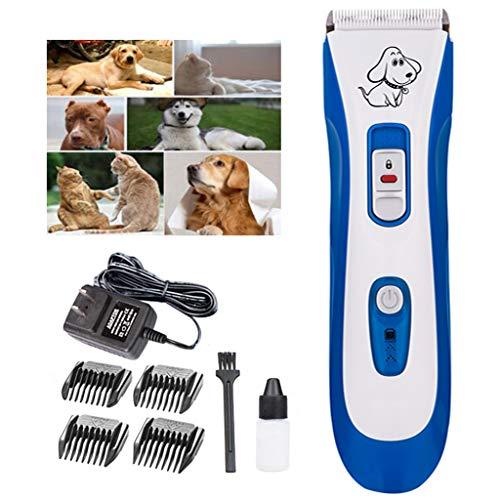 DIANKLO Hund Haarschneider Professionelle Haustier Haarschneider, Hund Haarschneider Wasserdicht Elektrische Trimmer Wiederaufladbare Keramikmesser Tierhaarschneider Kit
