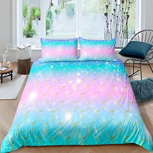 Set di biancheria da letto per bambine con bilance a forma di sirena, copriletto, decorativo, con motivo a squame di pesce, set da 3 pezzi