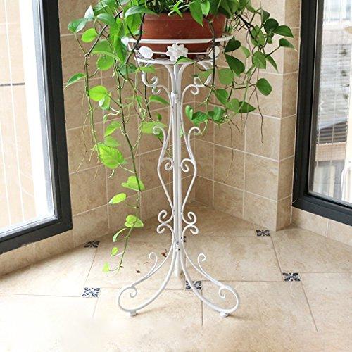 Étagère à fleurs en fer forgé étagère à un seul étage Landing Pot Rack intérieur et extérieur salon balcon étagère à fleurs pliante, noir/blanc/bronze, 27,5 * 34 * 75 cm (Color : White)