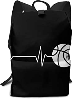 Heartbeat Basketball Black And White Daypack With Side Pockets, Travel And Sport Backpack Rucksack Large Capacity College School Bookbag Anti-Theft Multipurpose for Girls Boys