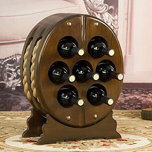 Botellero de Vino Tradicional Botellero de Vino Estante de Vino Botellas de Vino Sólido de Madera Ovalada Enfriador de Vino Europa América Retro para Complementar Cualquier Espacio Regalo Perfecto,