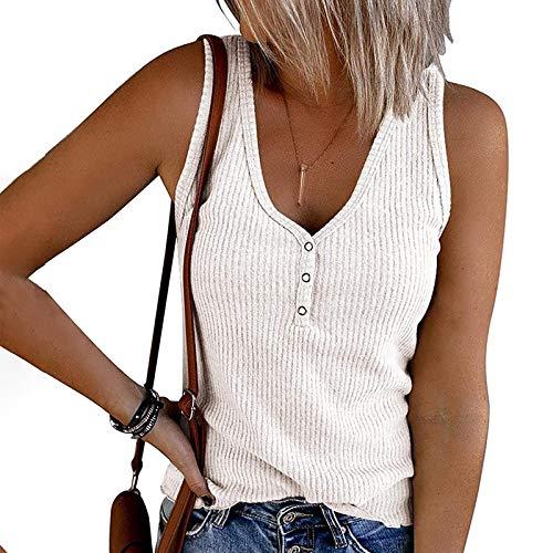 Damen Tops Damen T-Shirt Damen Tank Tops Armellos Sommer Oberteile Shirts Niedlich Einfarbig Basic Tops, V-Ausschnitt Henley Shirts Hemden Trägershirts Button Up Gerippte Damen Tunika Shirts Tops