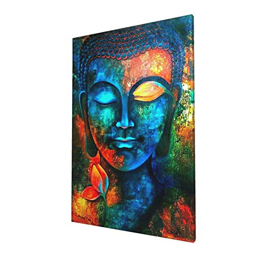 HANKCLES Blue Buddha Wall Decor Colorful Abstract Buddha Head Wall Art Zen Posters Modern Home Decor Living Room Study Bedroom Canvas Prints Painting Lotus Murals Hang Pictures Decoration 16x24inch