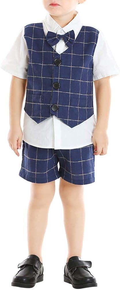 Boy's 2 100% quality warranty! Pieces Dress Short Suit Plaids Shirt Set Directly managed store Piece Mock-2 of