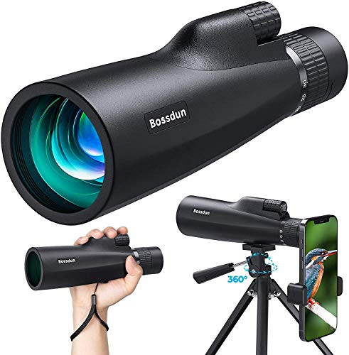 10-30x50 HD Monocular Telescope, High Power Magnification Monocular for Adults with Smartphone Holder, BAK4 Prism and FMC for Wildlife, Concerts, Camping, Scener