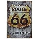 Ruta 66 Decoración Pared ✔️ Placa Decorativa Vintage Route ✔️ Cartel Chapa Póster