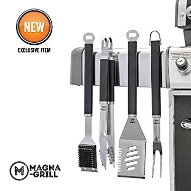 Yukon Glory Magnetic Grill Tool Set 4 Piece Stainless Steel Grilling, BBQ and Tailgating. Grilling Fork, Spatula, Tongs and Brush. The Ultimate GRILLING/BBQ ACCESSORIES