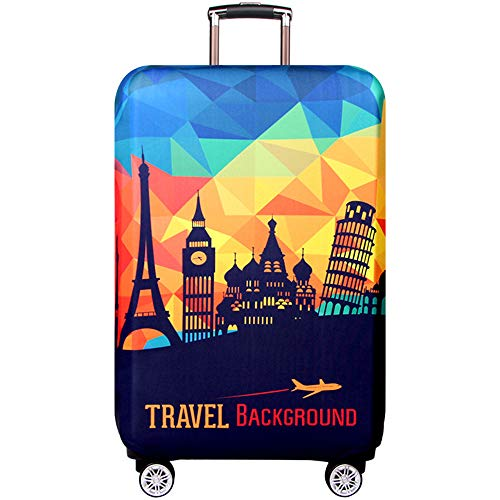 OuLi Store® Cubierta de equipaje Funda de maleta 18-32 pulgadas de fibra de carbón de bambú cubierta de equipaje equipaje de viaje protectora (Paisaje europeo, M- (equipaje de 22-24 pulgadas))