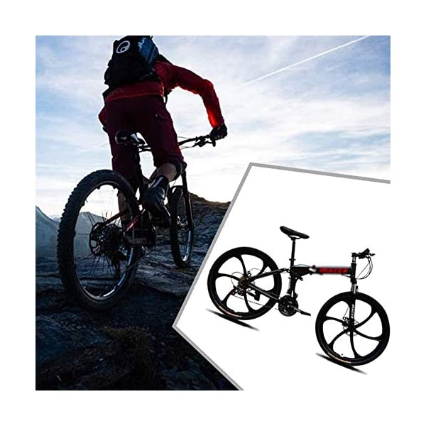 Mountain Bikes DNNAL Adult Mountain Bikes, 26 In Steel Carbon Mountain Trail Bike High Carbon Steel Full Suspension Frame Folding Bicycles, 21 Speed Dual Disc Brakes Bicycle