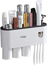 Wekity Multi-Functional Wall-Mounted Toothbrush Holder, Toothbrush Hanger with Automatic Toothpaste Dispenser, 3 Cups, and...
