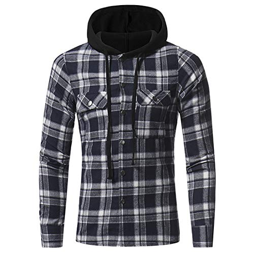 Men's Hooded Shirt Plaid Long Sleeve Shirts Hoodie Casual Button V-Neck Hooded Jacket Spring Classic All-Match Hoodies Tops M