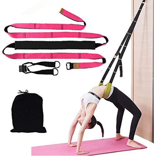 Entrenador de espalda para ayudar a la curva – Mejora la flexibilidad de espalda y cintura, correa de estiramiento de flexibilidad de puerta, equipo para el hogar para ballet, baile, yoga, gimnasia, animación, particiones, rosa (b)