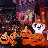 YQing 230cm Inflable de Halloween Calabaza Fantasma Decoración, hinchable Halloween Exterior Decoracion LED incorporados con arañas para patio, césped, jardín, fiesta, interior y exterior