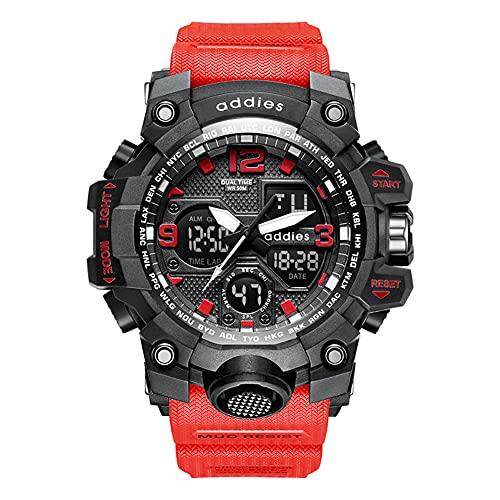 Reloj Deportivo electrónico Relojes Militares para Hombre Reloj de Pulsera Impermeable Digital 50M para Exteriores con cronómetro Alarma Luz de Fondo LED, para Correr, Nadar (Red)