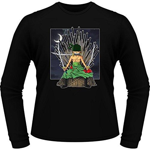 T-Shirt Manches Longues Noir Parodie One Piece - Game of Thrones - Zorro Roronoa X Eddard Stark - Game of Swords (Super Deformed) (T-Shirt de qualité Premium de Taille S - imprimé en France)