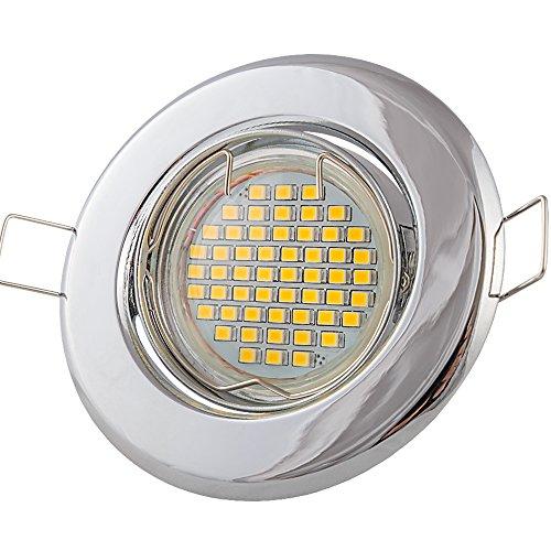 Preisvergleich Produktbild 6x Lu-Mi Einbaustrahler GU10 LED 3W SMD Warmweiß 230V,  Einbaurahmen mit GU10 Fassung (Chrom - SD201)