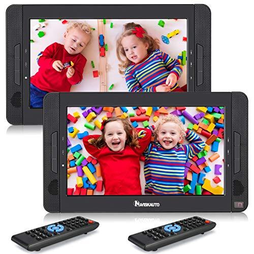 NAVISKAUTO Lecteur DVD Voiture 2 ecrans indépendant Portable pour Enfant 10,1 Pouce Autonomie de 5 Heures supporte AV in/AV Out Région Libre USB SD MMC(Deux Lecteurs)