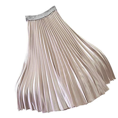 Shengwan Femme Mi Longue Jupe Plissée Haute Taille A-Ligne Vintage Jupes Or