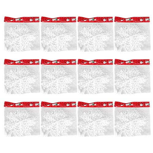 VALICLUD 12 Package of Snowflake Pattern Decoration Hanging Christmas Ornaments (White) Party Favors