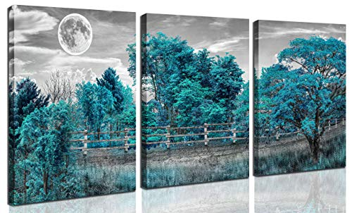 Tree Wall-Art - Teal Wall Art For Bedroom - Natural Landscape Pictures For Living Room,Farmhouse Wall Art 3 Pieces Framed Canvas Art 12x16 Inches