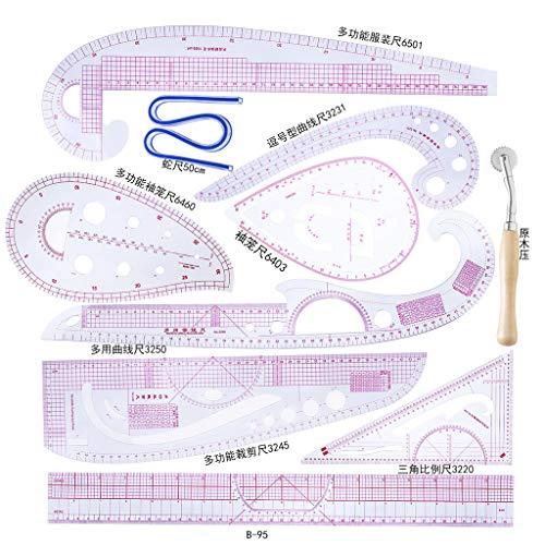 siwetg 10pcs / Set Regla Reglas De Corte De Curva Francesa Herramientas De Costura De Varillas De Medida Medida De Corte Y Confección Dibujo A Medida