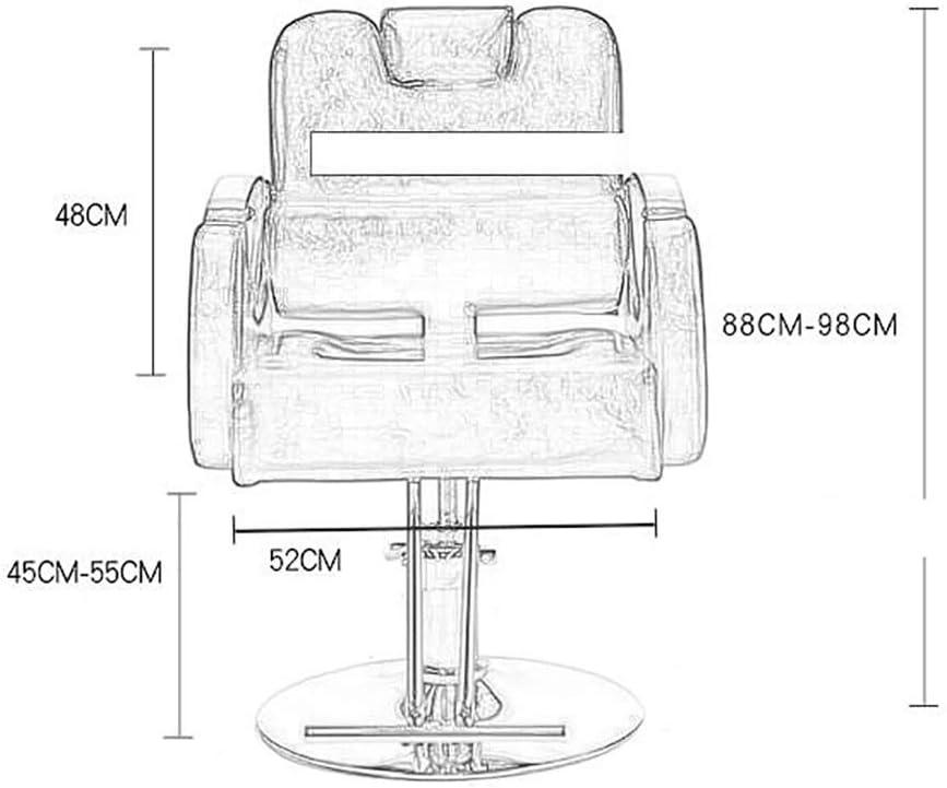 WJJ Fauteuil Pivotant Salon de beauté Salon de Coiffure Chaise Reclining Coiffure Professionnelle Chaises en Cuir Moderne Chaise pivotante (Color : Blue) Black -1