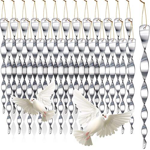 30 Pcs Bird Repellent Reflective Scare Rods Wind Twisting Spiral Deterrent Device Hanging Bird Reflectors (Silver, 40 Pcs)