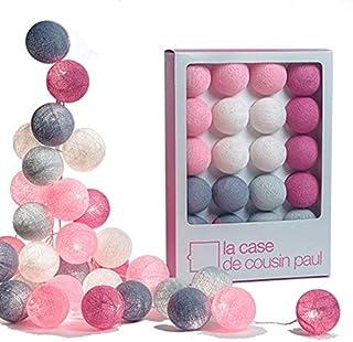 La Case de Cousin Paul 3760053200075 - Guirnalda luminosa, poliéster, rosa, fucsia, marfil, lila, gris perla