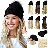 Qlenkay Beanie Hat Knit with Long Wavy Curly Hair Extensions Wig Dismountable Warm Knitted Pom Cap Attached 20inch Synthetic Hairpiece for Women Winter Light Chestnut Brown